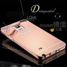 Для Samsung Galaxy Note 4 N910F N910K N910C Роскошные Chrome Алюминиевый Металлический Корпус Зеркало Arcylic Крышка