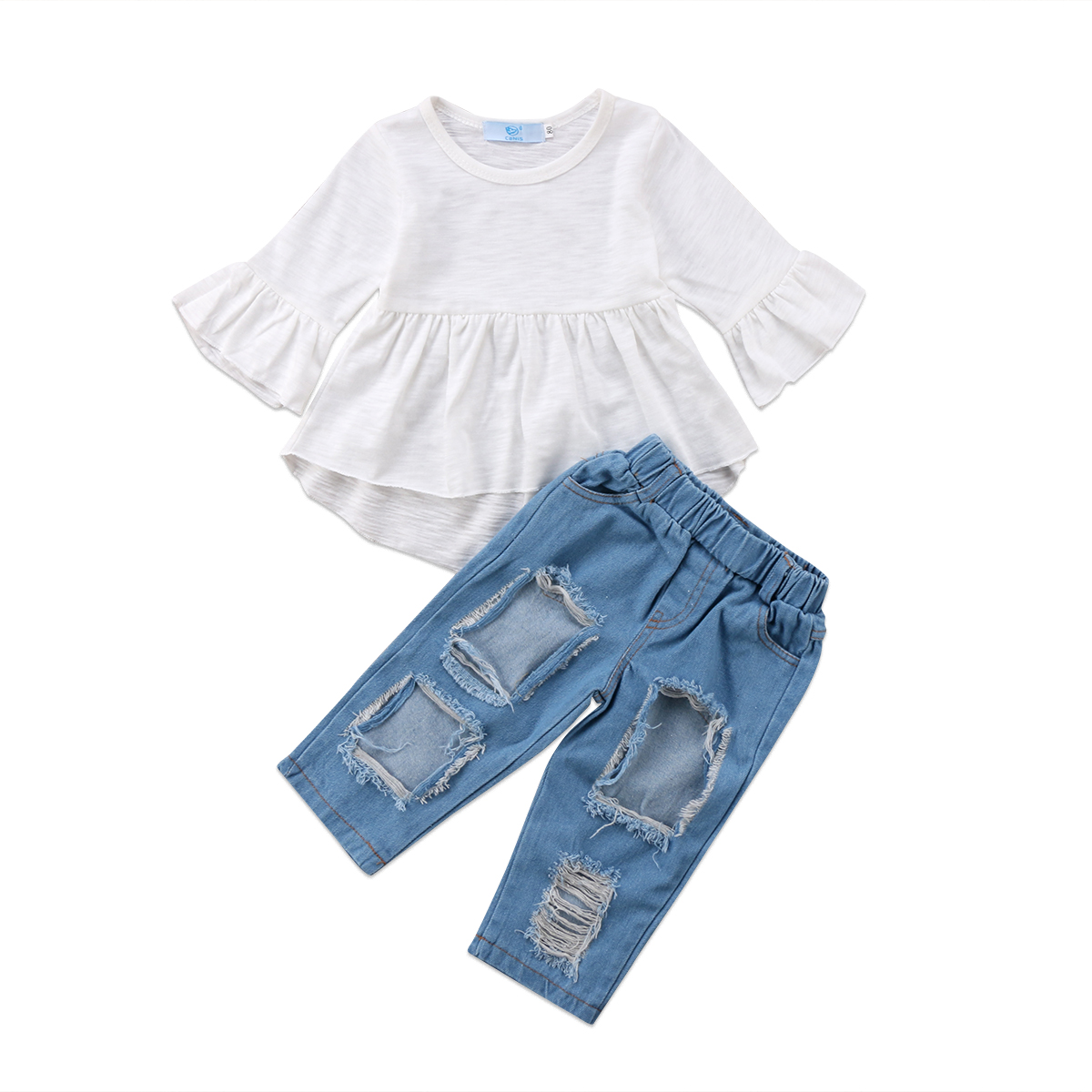 2f9a6103b6682 Girl Set Fashion Baby Kids Tunic Cotton Tops Dress Ripped Denim Pants Jeans  Outfits Long Sleeves Clothes-in Clothing Sets from Mother & Kids on ...