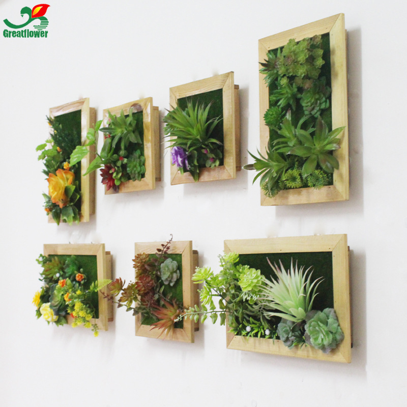 3D Creative Metope Artificial Succulent Plants Wooden ... on Wall Sconces For Greenery Decoration id=59271