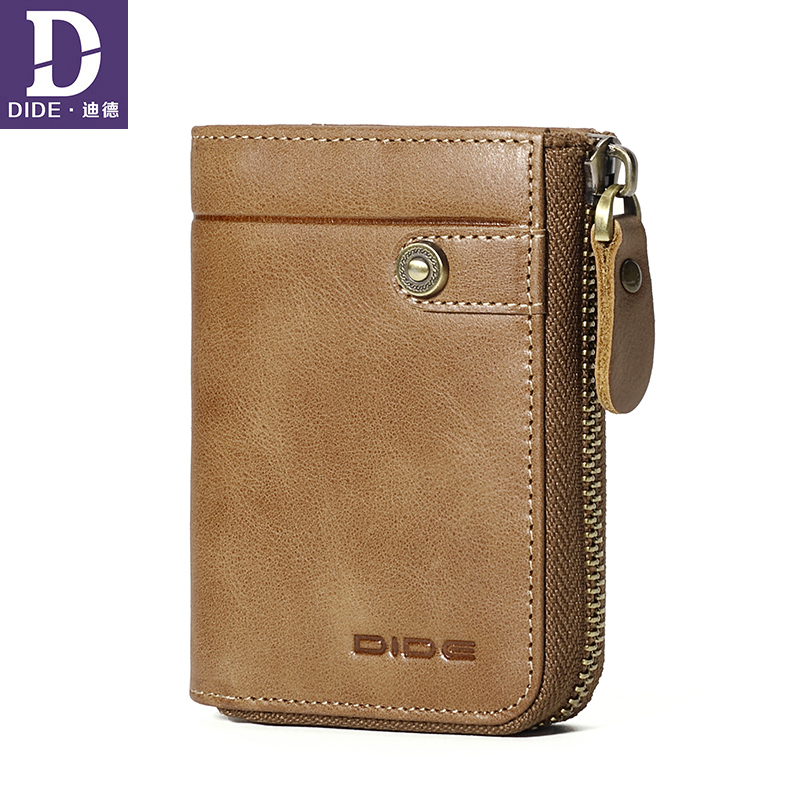 DIDE Genuine Leather Wallet For Credit Cards And Money For Men Card Holder Brand Designer Vintage Organizer Small Wallet Purse men plaid pu leather wallet light bifold fashion designer credit cards holder clutch id card organizer brand purse for men phd08