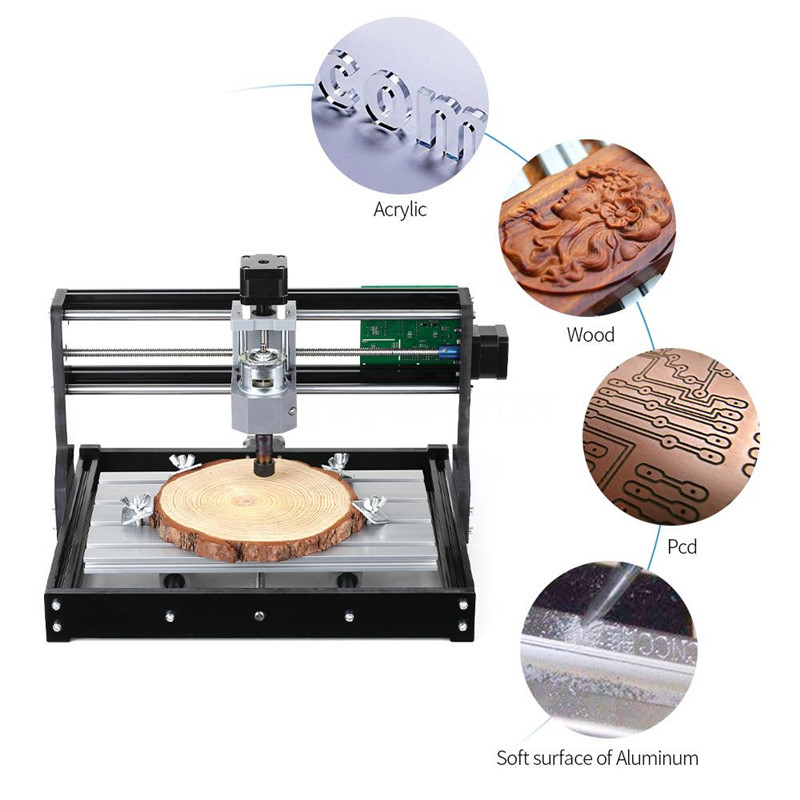 Portable 3018 3 axes Mini bricolage CNC routeur vitesse réglable broche moteur gravure sur bois fraiseuse graveur 400x330x240mm