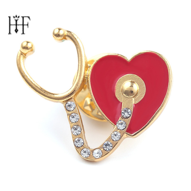 703ec97898583 US $1.17 28% OFF|Stethoscope Broches Pin Crystal Heart Shape Brooches for  Women Red Enamel lapel pin men hat tie tack brooch collar pins Women-in ...