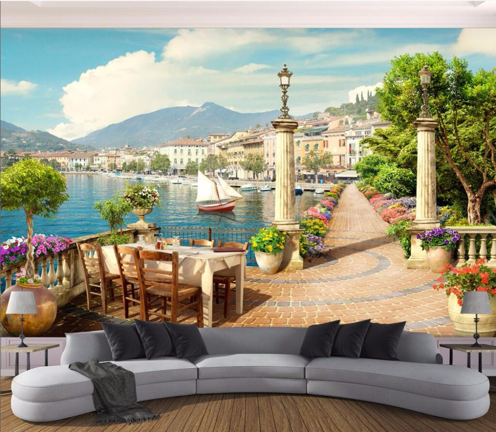 3d wallpaper Custom photo mural Garden balcony town lake view picture room decor painting 3d wall mural wallpaper for walls 3 d 3d wall murals wallpaper for living room walls 3 d photo wallpaper sun water falls home decor picture custom mural painting