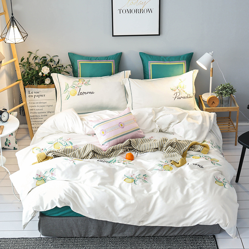 Lemon embroidery Luxury Egyptian Cotton Bedding set Queen King size Bed set Duvet cover Bedheets set Bed cover PillowcaseLemon embroidery Luxury Egyptian Cotton Bedding set Queen King size Bed set Duvet cover Bedheets set Bed cover Pillowcase