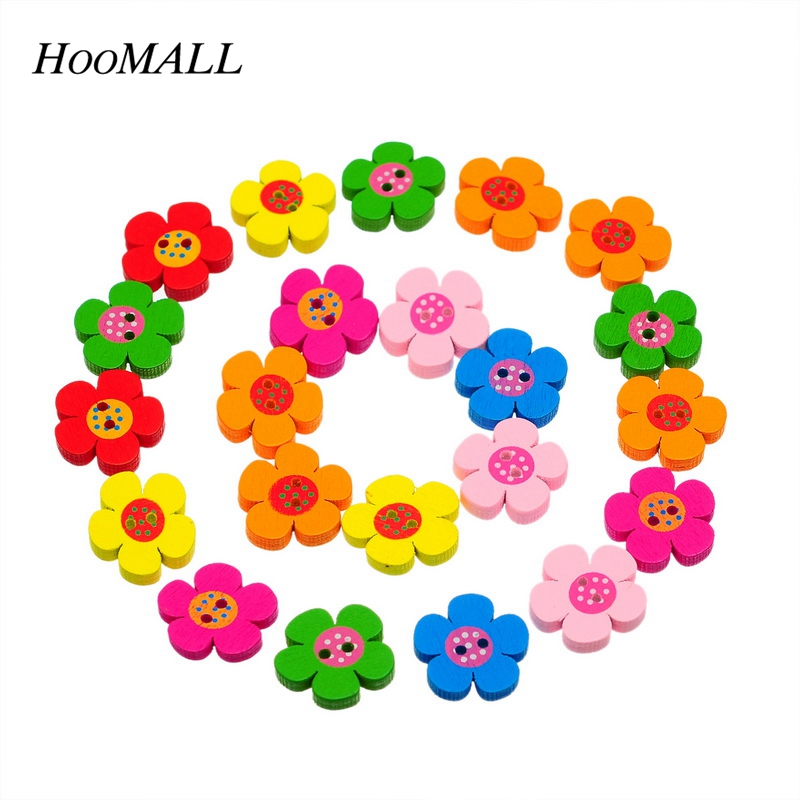Hoomall New 90PCs Wooden Buttons Charm Mixed Sewing Scrapbooking Crafts  19mm x19mm New 744c00fbf8b6