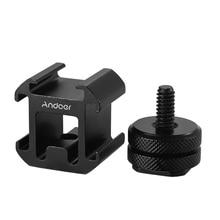 Andoer 3 קר נעל על מצלמה הר מתאם להאריך יציאת עבור Canon Nikon Pentax DSLR מצלמה עבור מיקרופון צג LED וידאו אור