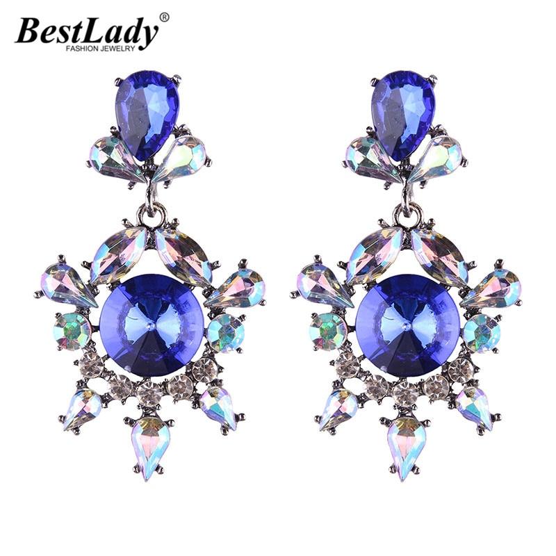 Best lady 2017 New Special Design Shiny Bohemian Wedding Statement Earrings Jewelry Fashion Women Multi Color Stud Earrings