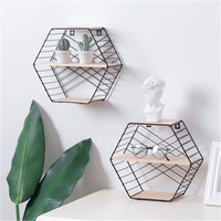 Nordic Simple Strip Holder Hexagon Shelf Metal Wooden Wall Hanging Rack Home Wall Decoration Storage Organizer Table Rack Decor