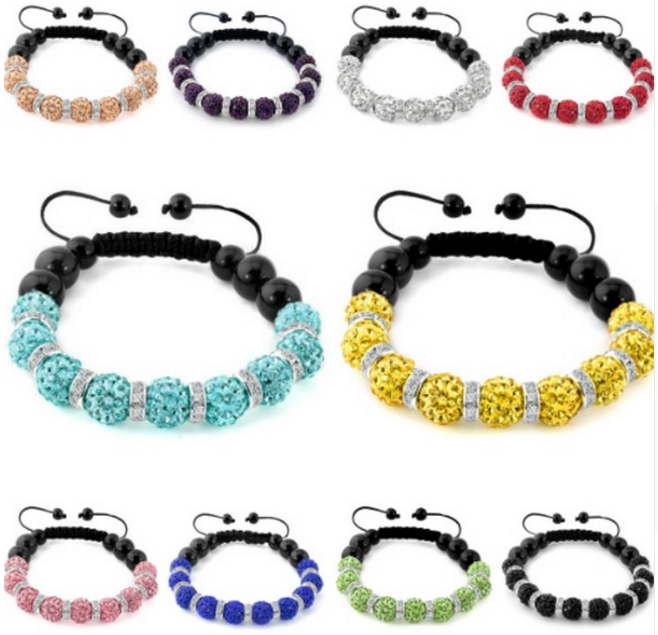 10mm 6pcs/lot Mixed White Multicolor B2536 Crystal Clay Micro Disco Pave Ball Bead Bracelets Spacer Men Women Gift Warm And Windproof Bracelets & Bangles
