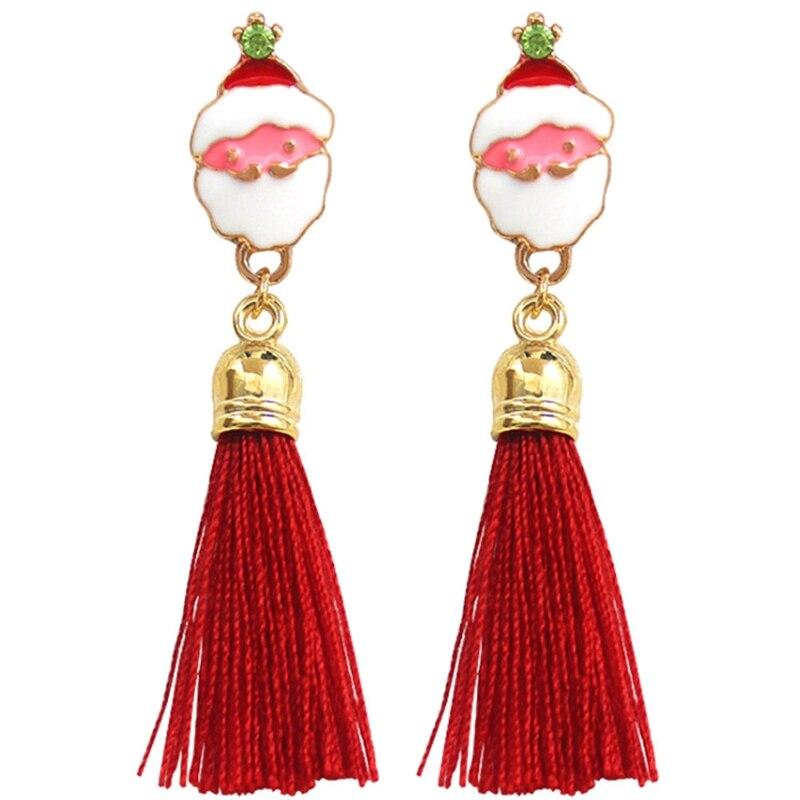 Fashion Red Grey Cute Elk Santa Claus Pendant Long Silk Tassel Fringe Earrings Drop Earring Women Girls Christmas Jewelry Gifts