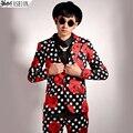 Новый стиль мужская мода горошек цветок тонкий костюм корейской версии певец сценический костюм пиджаки