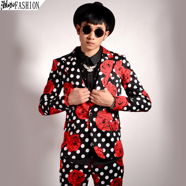 New style Men's fashion Polka dot flower Slim suit Korean ...