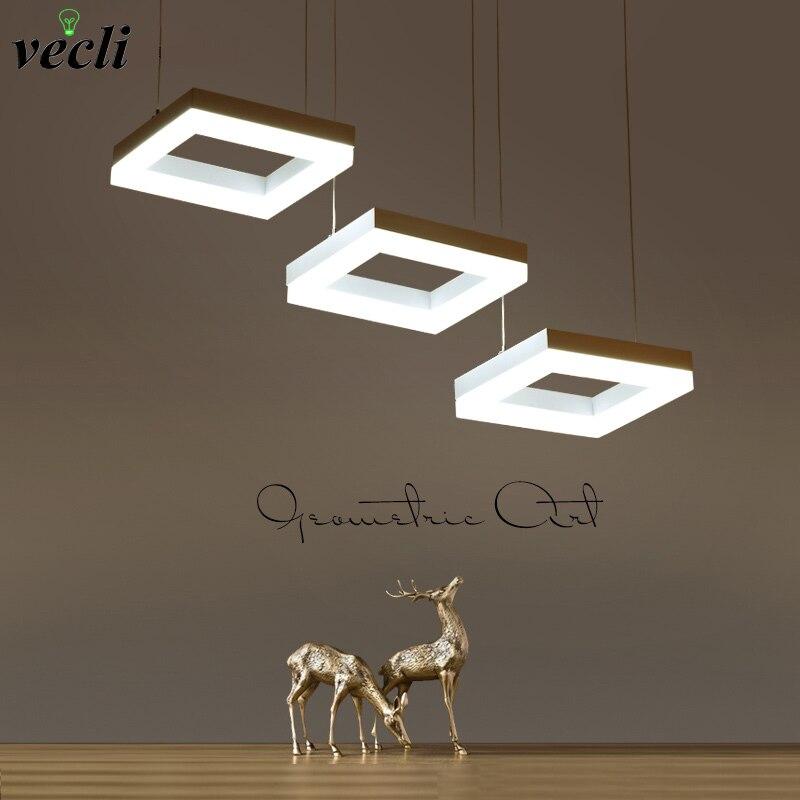 Fashion rectangle ring pendant lamp, led dining room suspendu lamp, restaurant living room long cord hanging light chandelier