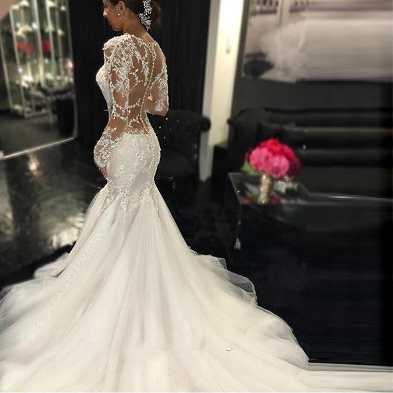 Vintage 2017 Long Sleeves Mermaid Lace Wedding Dresses Vestido De Noiva Beaded Sexy V Neck Illusion Back Luxury Bridal Gown