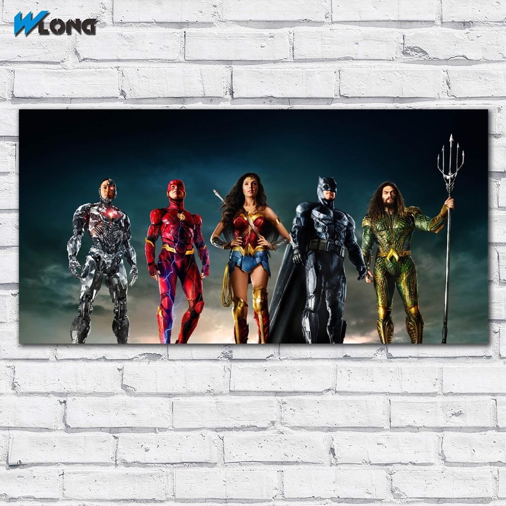 Printing Justice League Woman Hero Gal Gadot Art Home Decor Living Room Modern