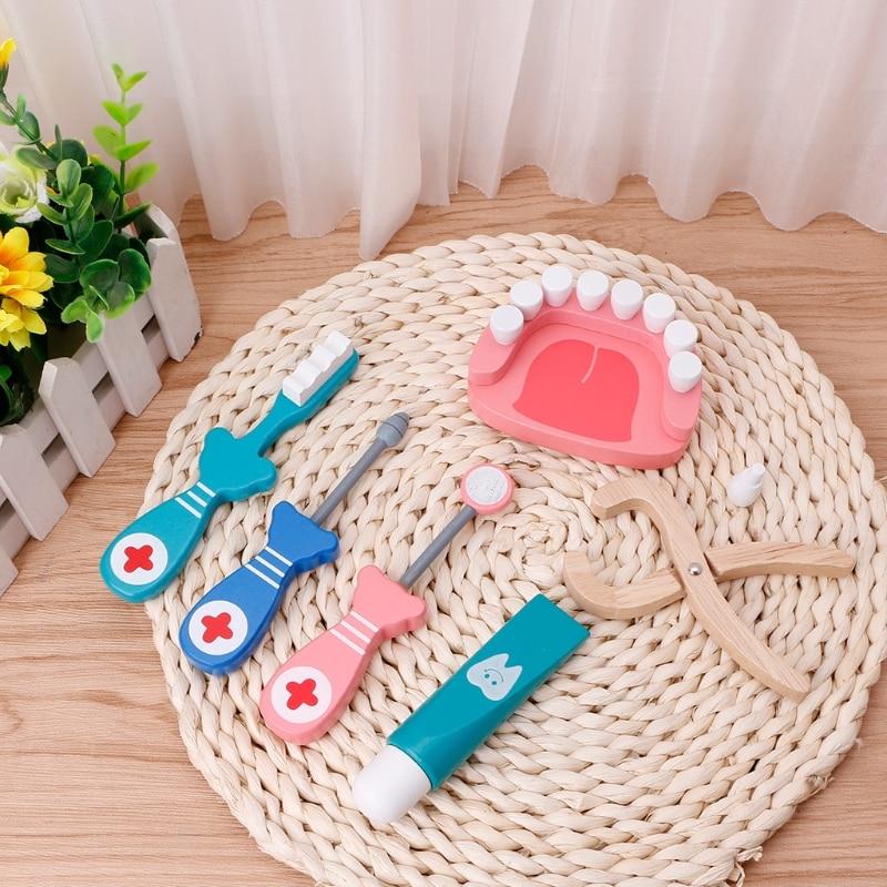 HBB 6Pcs Baby Toys Doctor Set Play Wooden Dental Tools Simulation Medicine Box