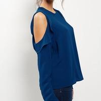 SEBOWEL 2018 Spring And Autumn Women S Chiffon Shirt Strapless Long Sleeved Shirt Blouse Women Plus