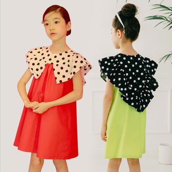 Vestido de marca de estilo coreano para niñas adolescentes 2019 verano nuevo vestido de princesa de algodón ropa para niños vestido de patchwork de moda ws510