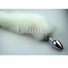 Fox Tail Butt Metal Plug 35cm Long Anal Sex Toy