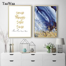 TaaWaa Abstract Canvas Poster Gold Quote Blue painting Nordic Modern Simple Wall Art Decorative Pictures For Living Room Decor(China)
