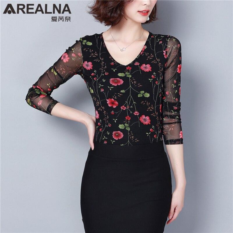 375r Ropa Las Camisa Malla Floral De 375y 2019 381 378 376 Pura Mujeres Blusas Coreano Moda Elegante Slim Elástico Flor Tops Vintage TvAqaxEw