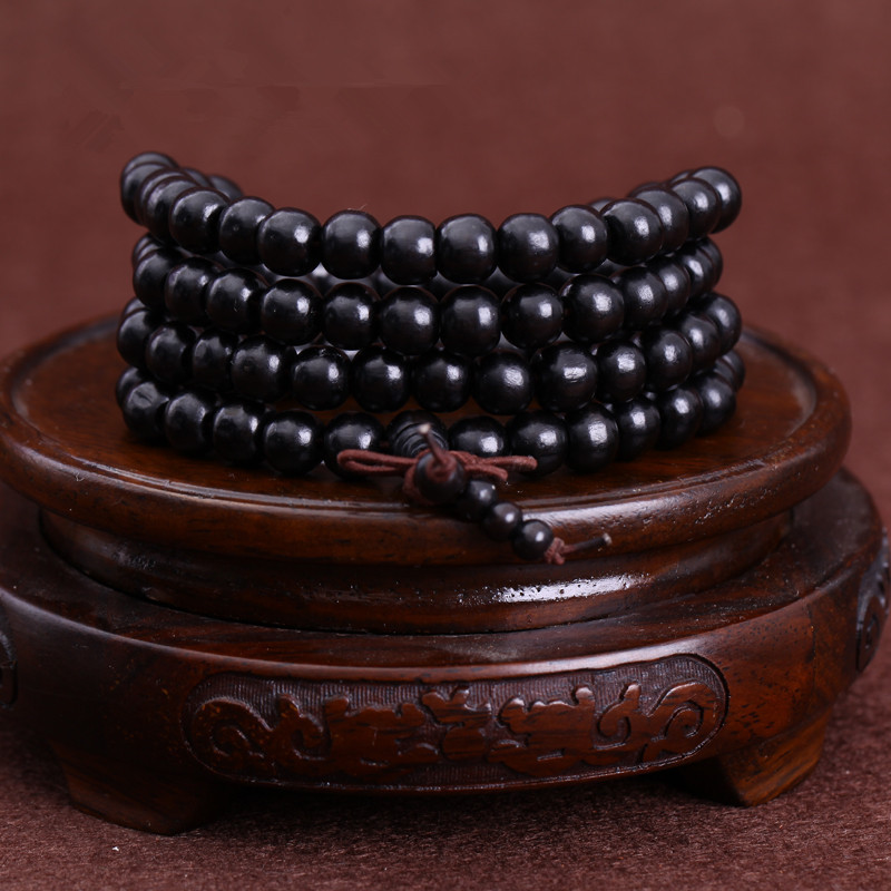 108*0.8/0.6cm Black Wooden Prayer Beads Bracelet Men Mala Buddha Natural Ebony Wood Buddhist Rosary Bangle Jewelry
