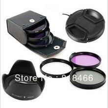 Uv cpl fld 렌즈 필터 키트 렌즈 캡 렌즈 후드 canon nikon pentax sony nex 카메라 500d 600d d5100 용 49/52/55/58/62/67/72/77mm