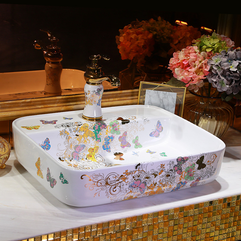 Porcelain bathroom vanity bathroom sink bowl countertop square Ceramic wash basin bathroom sink butterfly pattern
