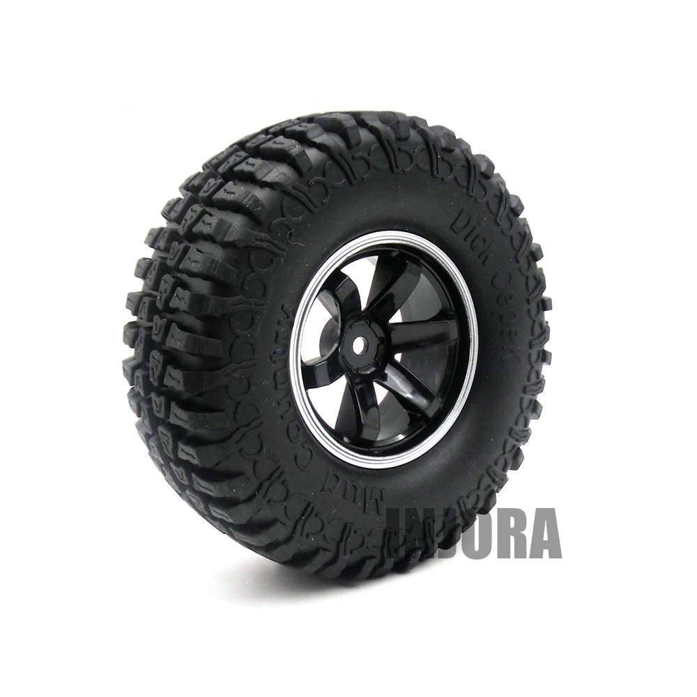 4PCS 1.9 Inch Rubber Tires & Wheel Rim for 1/10 RC Rock Crawler Axial SCX10 90046 RC4WD D90 D110 Tamiya CC01