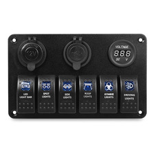 Новое поступление автомобиля 5 Pin двойной светодиодный фонарь с двумя портами USB Зарядное устройство 6 бит переключатель вольтметр композитный Панель сопротивление воды крышка