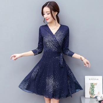 v-neck bind waist dot printing a-line dress vestidos summer clothes