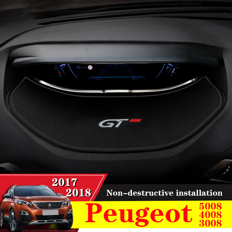 1PCS Car styling Accessories Display Anti-Skid Meter Mats Pad For <font><b>Peugeot</b></font> 3008 GT <font><b>2016</b></font> 2017 2018 / <font><b>5008</b></font> GT 2017 image