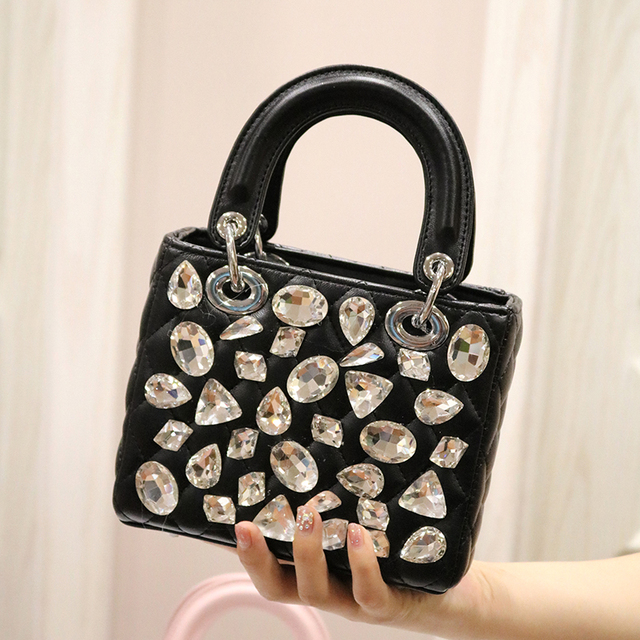 handbags woman flap bag girl small bag 2018 summer new fashionable lady elegant big crystal diamond handbag shoulder bag