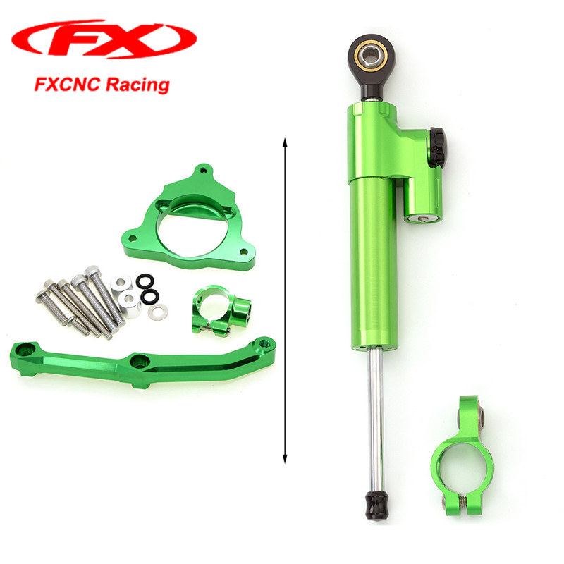 Green FXCNC Motorcycle Steering Stabilizer Damper with Brackets Mounting Kits for Kawasaki Z800 13-15 2013 2014 2015