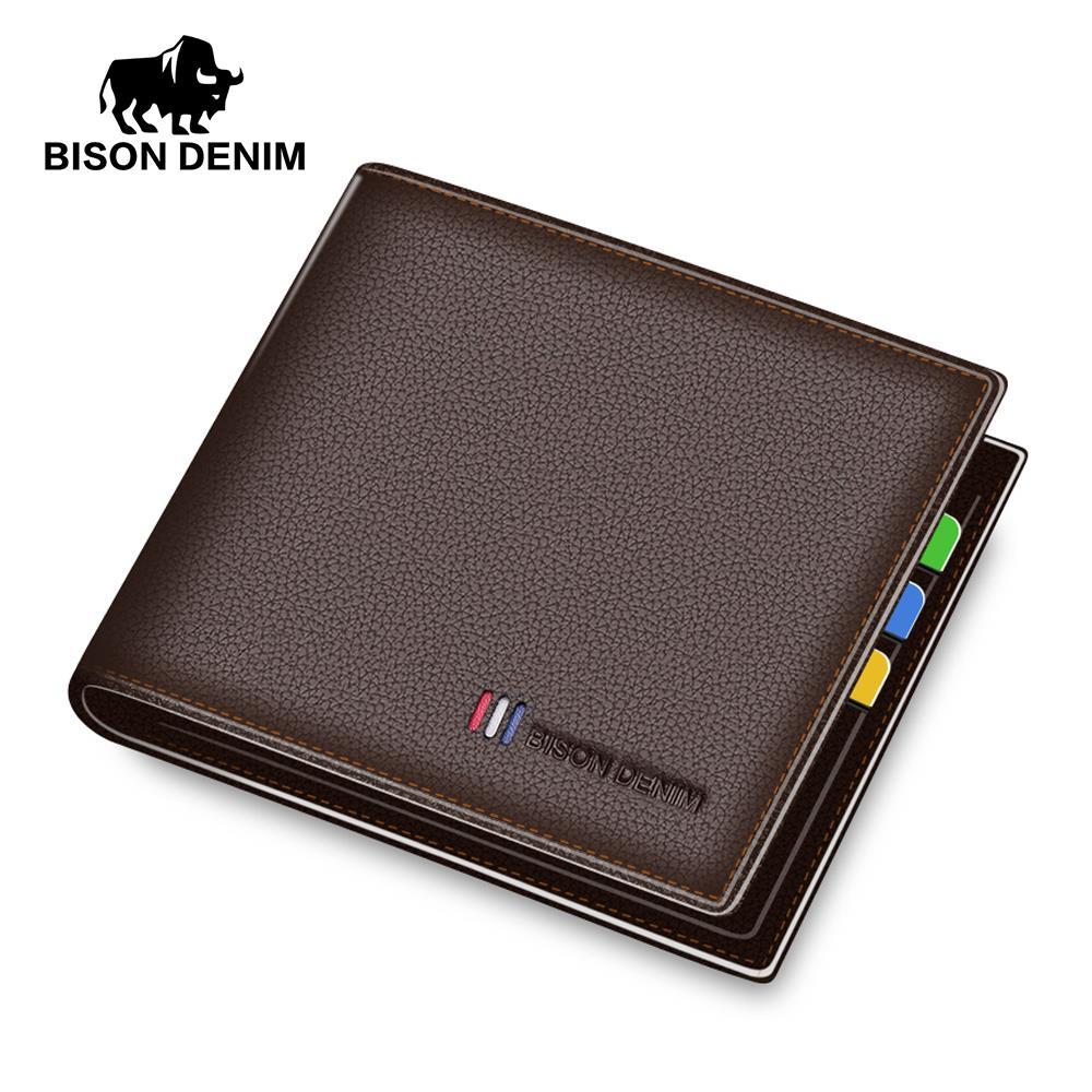 BISON DENIM luxury genuine leather men wallet slim business male bifold brand card holder purse