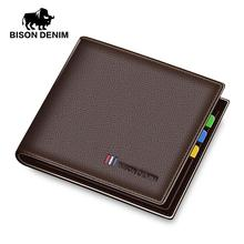 BISON DENIM luxury genuine leather men wallet slim business male bifold brand card holder purse