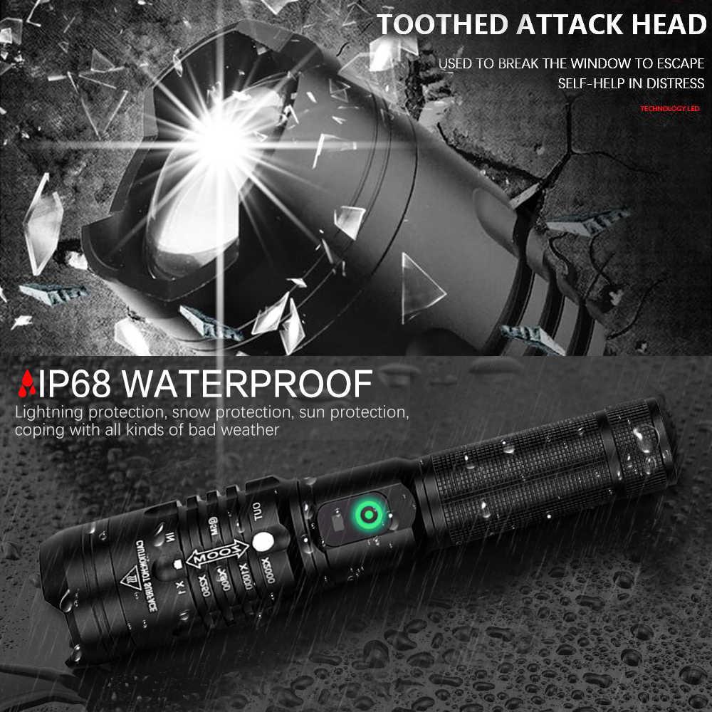 החזק ביותר LED פנס XHP50.2 אולטרה בהיר פנס זום הוביל לפיד USB נטענת פנס להשתמש 18650 סוללה