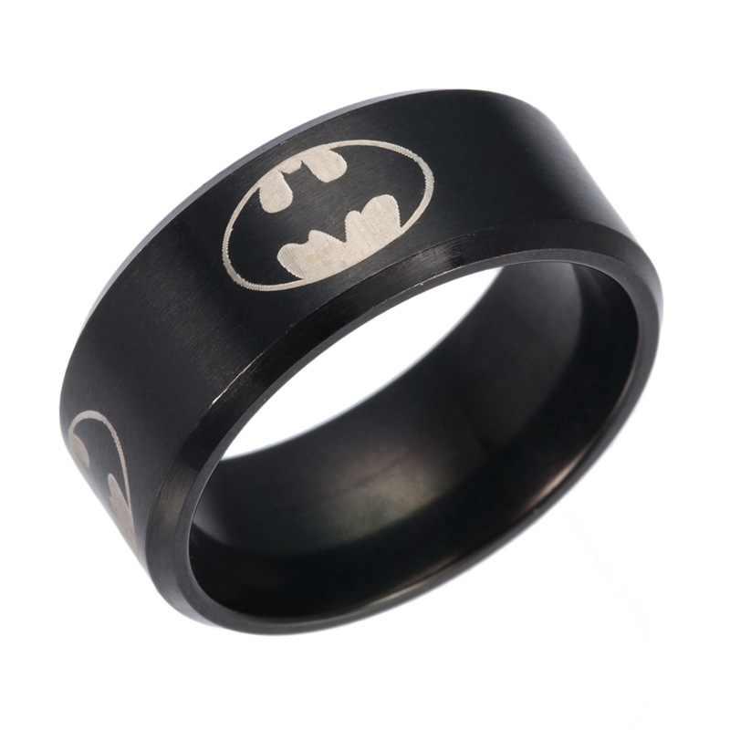 Gaxybb Acessórios Anel de Jóias de Grau Superior dos homens Série de Super-heróis Batman Anéis Anel de Aço Inoxidável