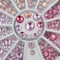 Смешанные размеры блестящие розовые серии Горячая фиксация плоские круглые грани алмазные стразы для дизайна ногтей украшения Маникюр DIY к...