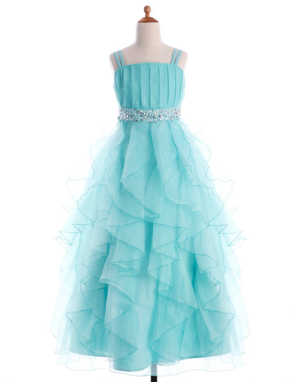 2019   Girls   Spaghetti Straps   Dresses   Tired Princess   Flower     Girl     Dresses   Sleeveless Zip Up Back with Crystal Custom Made   Dress