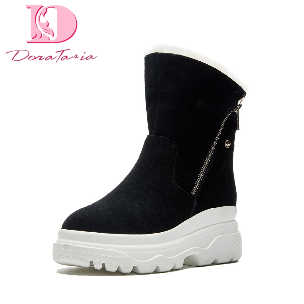 Doratasia Brand dropship fashion cow suede Russia winter warm plush snow boots woman shoes thick fur mid-calf boots women shoes 2016 new warm snow boots women plush winter mid calf boots fashion wedding shoes brand lady botas flat shoes