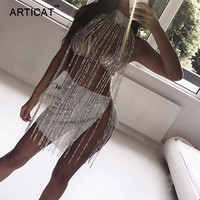 Articat Sexy Sparkle Tassel Crystal Diamonds Outfits Sexy Hollow Out Turtleneck Sequins Party Dresses Clubwear Birthday Outfits