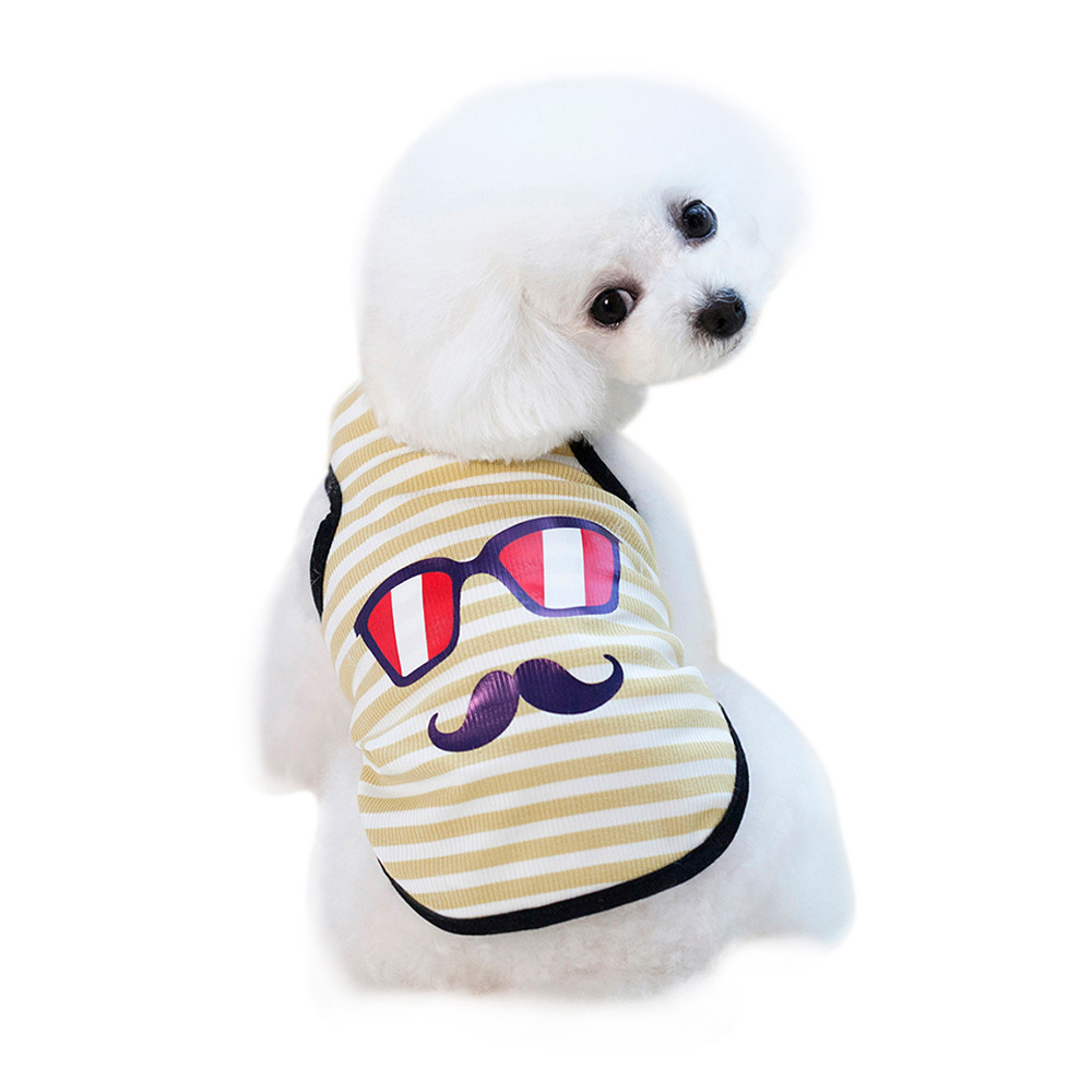 Dog Clothes For Small Dogs Pet Products Clothing Small Dog Vest Pet Dog Glasses Beard Vest Dogs Cat Cute Summer Clothes