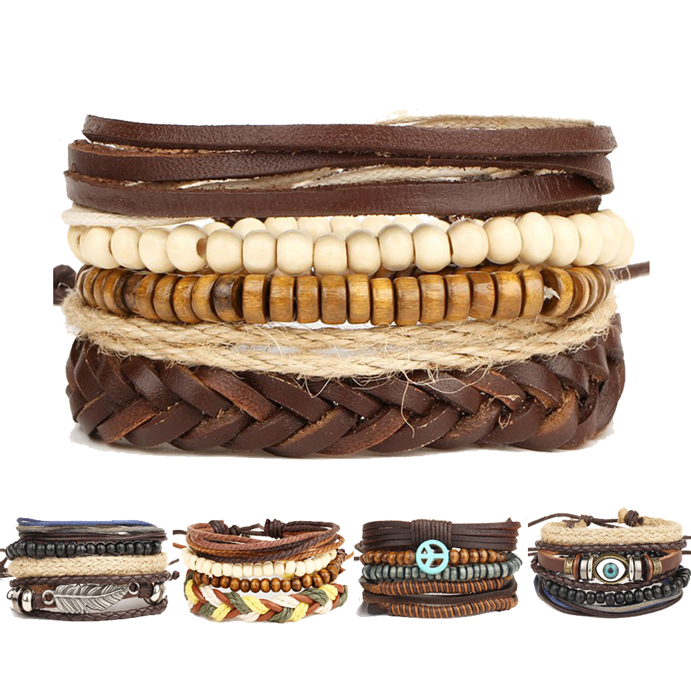 Bracelets: Multilayer Rock Leather Bracelet Men Jewelry Wood Bead Bracelets For Women 2017 Vintage Punk Bracelets & Bangles Christmas Gift
