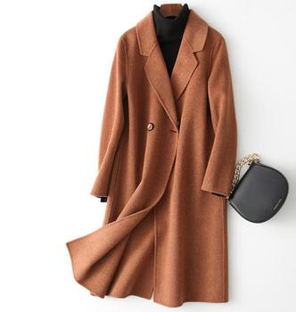Autumn and Winter Double-Sided Pure Cashmere Coat Women Jacket Long Loose Wool  New Pure Color Cardigan plus size 2XL