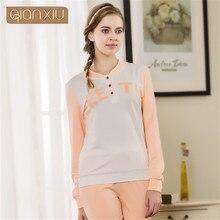 2017 spring women long-sleeve cotton sleep pajama sets female nightwear lady floral Pyjamas nightgowns teenage pijamas sleepwear
