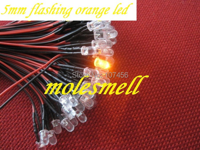Free Shipping 50pcs 5mm 5v Flashing Orange LED Lamp Light Set Pre-Wired 5mm 5V DC Wired Blinking Orange Led Amber Led