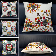 Home Decorative Embroidered Cushion Cover Round Geometric Floral Canvas Cotton Pillows 45x45cm Square Embroidery Pillow Cover home decorative embroidered cushion cover black white canvas cotton square embroidery pillow cover 45x45cm for sofa living room