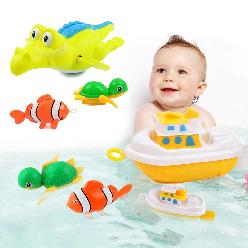 Baby Bath Toys For Children Cartoon Turtle Fish Kids Bath Pull Toys Toddler Beach Swiming Water Toy Shower Toys Gift