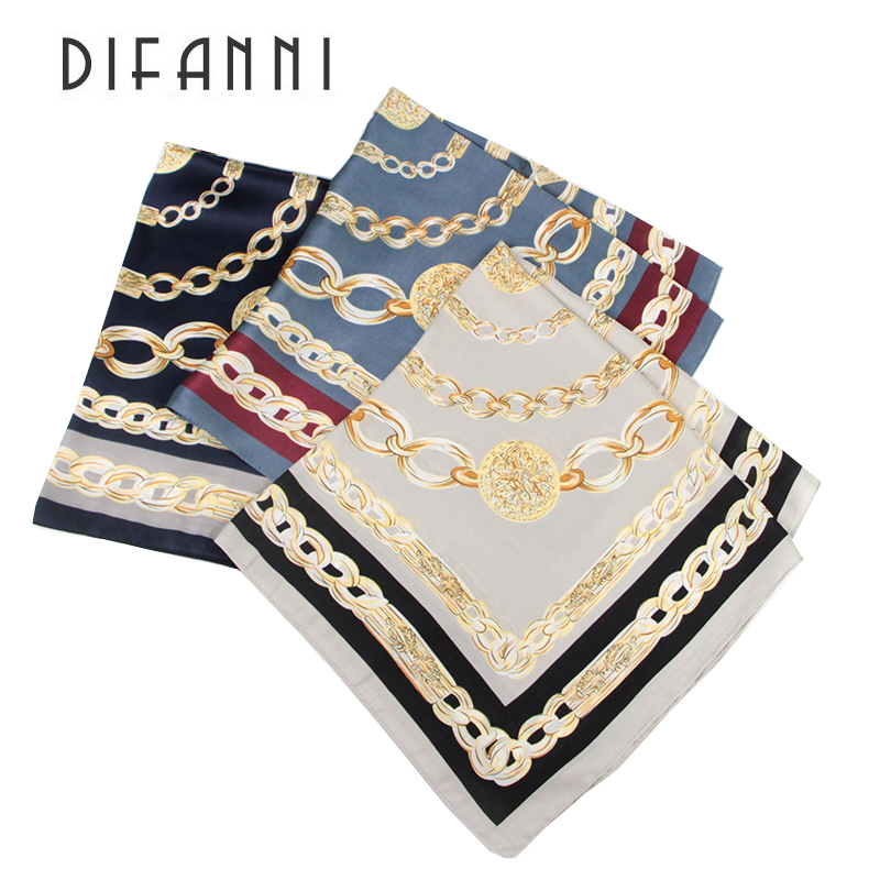 [DIFANNII] 2017 new style Square Imitated Silk Scarf Women Shawl Fashion Print Flower Bandana Small Size Soft Scarves Hijab